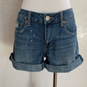 American Eagle Distressed Denim Roll-Up Shorts